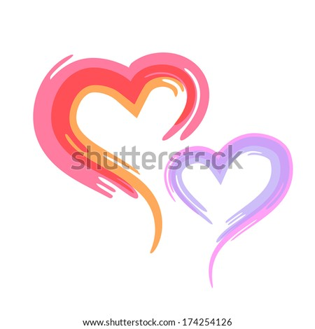 Vector illustration of two hearts - stock vector