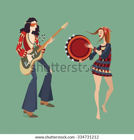 vector illustration of two hippies playing musical instruments and dancing - stock vector
