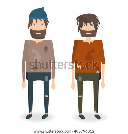 Vector illustration of two homeless people in rags. Homeless man with a beard in torn clothes. Homeless man cartoon character. Beggar - stock vector