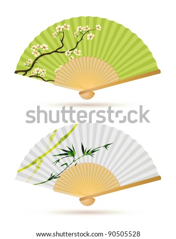 Vector illustration of two japanese folding fans isolated on white. - stock vector