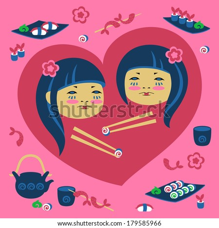 Vector illustration of two japanese girl with sushi - stock vector