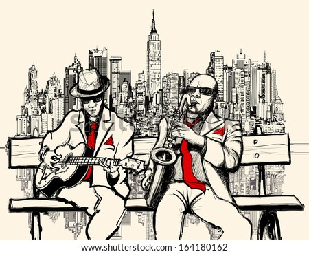 Vector illustration of two jazz men playing in New York - saxophone and guitar - stock vector