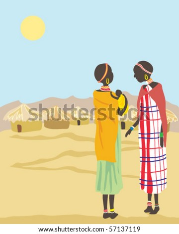 vector illustration of two masai women standing near their village talking - stock vector