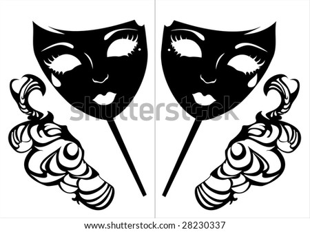 Vector illustration of two masks for a masquerade. - stock vector