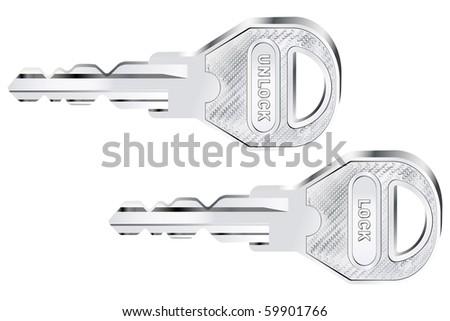 Vector illustration of two metal keys - lock/unlock lettering - stock vector