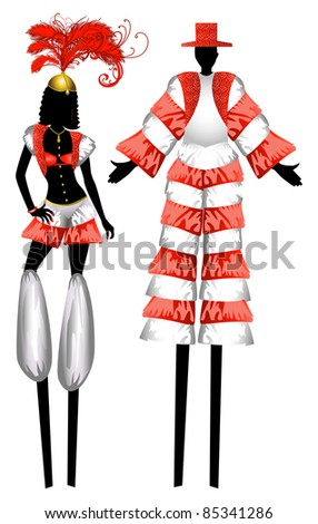 Vector Illustration of two Moko Jumbies also known as stiltwalkers. - stock vector