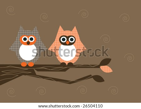 Vector illustration of two owls sitting on a branch