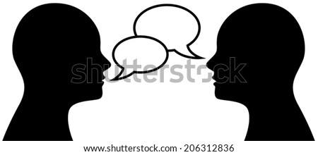 Vector illustration of two people talk face to face, communication, social media concept - stock vector
