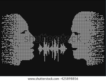 Vector illustration of two people talk face to face. Pixel silhouettes of talking man and women. Two people share words by sound wave equalizer. - stock vector