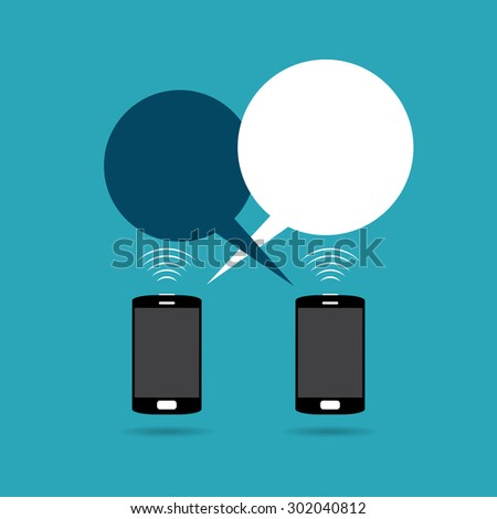 Vector illustration of two phones exchanging talk bubbles. - stock vector