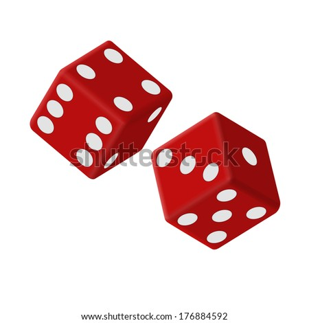Vector illustration of two red dice - stock vector