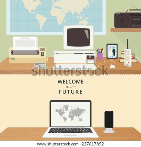 Vector illustration of two rooms with computers - nineties and present time. Old computer at desk in 90s and modern laptop - stock vector