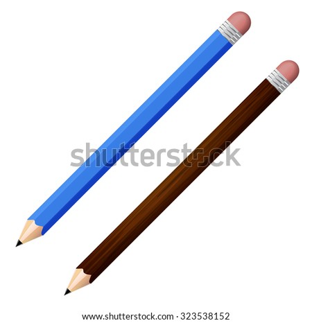 Vector illustration of two sharpened detailed pencils isolated on white background - stock vector