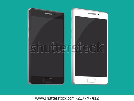 Vector illustration of two smart phone in black and white isolated on green background - stock vector