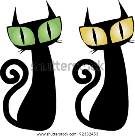 Vector illustration of two standing cats - stock vector