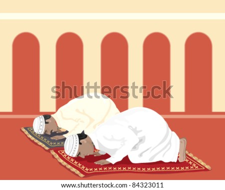 vector illustration of two traditionally dressed muslim men praying at the mosque in eps 8 format - stock vector