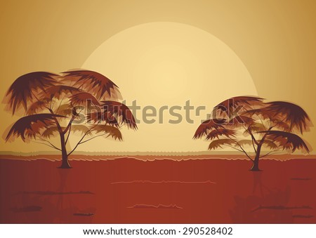 Vector illustration of two trees in Africa - stock vector