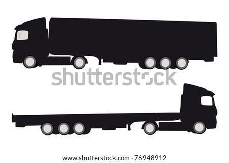 Vector illustration of two trucks silhouette - stock vector