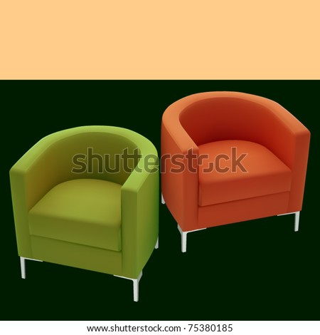 vector illustration of two tub chairs - stock vector