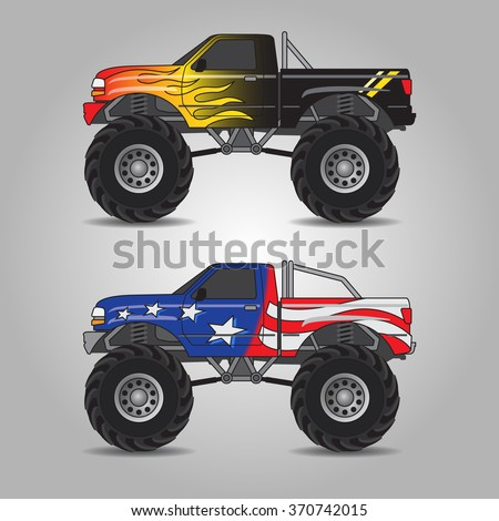 Vector Illustration Two Variations Monster Trucks Stock-Vektorgrafik ...