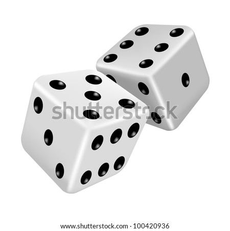 Vector illustration of two white dice - stock vector