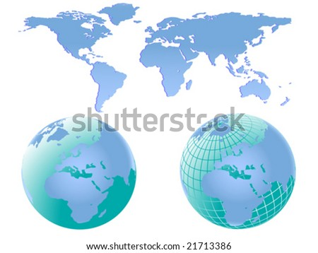 Vector illustration of two world globes with europe and africa facing forward together with a map of the world which can be separated into different continents easily.