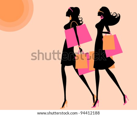 Vector illustration of two young women shopping on a hot summer say. The background and each one of the girls is grouped and placed on a separate layer. - stock vector