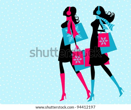 Vector illustration of two young women shopping on a snowy winter say. The background and each one of the girls is grouped and placed on a separate layer.
