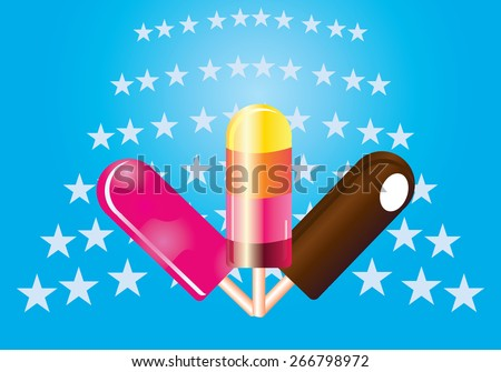 Vector illustration of 3 type of ice cream, chocolate brown juicy pink and orange yellow ice lolly isolated on light blue background with stars pattern. Gift card, postcard. No transparencies applied - stock vector