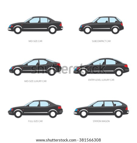 vector illustration of types of cars mid size subcompact mid size