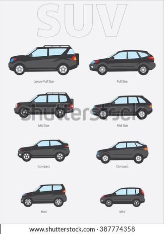 vector illustration of types of cars variants of car body sport terrain vehicle