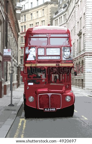 vector illustration of typical London Red Bus - stock vector