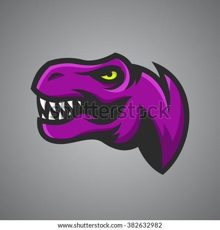 Vector illustration of Tyrannosaurus Rex head. Sport mascot. - stock vector