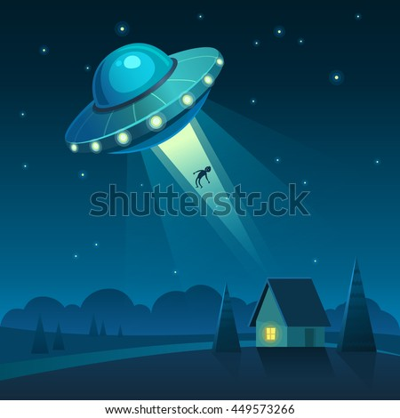 Vector illustration of UFO in dark night sky abducts human from the house. - stock vector