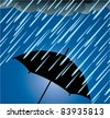 vector illustration of umbrella protection from heavy rain - stock photo