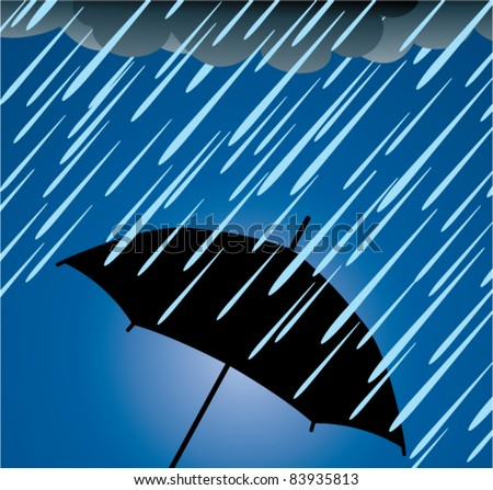 vector illustration of umbrella protection from heavy rain - stock vector