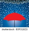 vector illustration of umbrella protection from rain and hail - stock vector