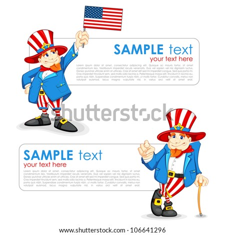 vector illustration of Uncle Sam with American Flag - stock vector