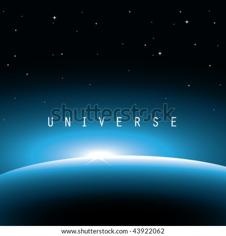vector illustration of universe-blue light rising above earth - stock vector