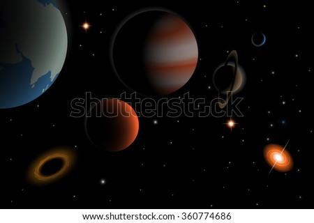 Vector  illustration of universe with Parade of planets,galaxy,quasar,stars and other objects - stock vector