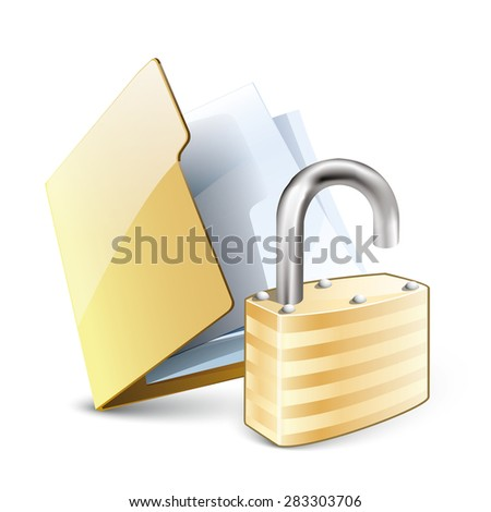 Vector illustration of unlocked folder concept with yellow folder and unlock pad lock, isolated on white background. Eps 10 - stock vector