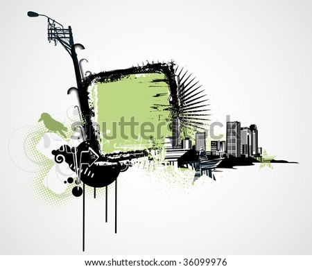 Vector illustration of urban background with Design elements over grunge stained frame. - stock vector