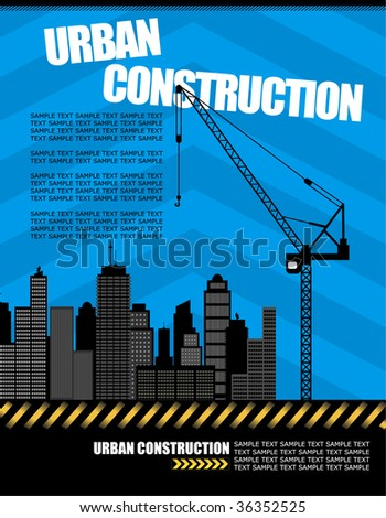 vector illustration of urban construction with copy space - stock vector