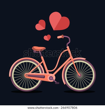 Vector illustration of urban hipster bicycle in trendy flat style with hearts - stock vector