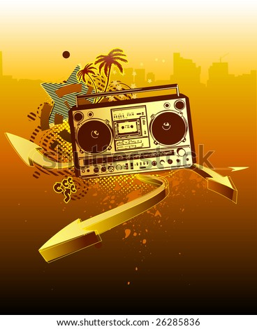 Vector illustration of urban music grunge background with stars and boombox - stock vector
