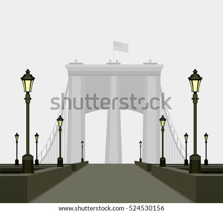 Vector illustration of urban track with street lamps to a huge bridge in the distance rising above the fog