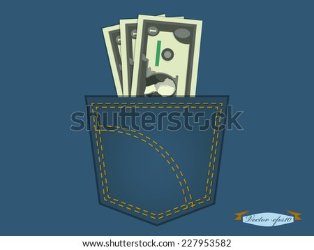 vector illustration of US dollars in the pocket of blue jeans - stock vector