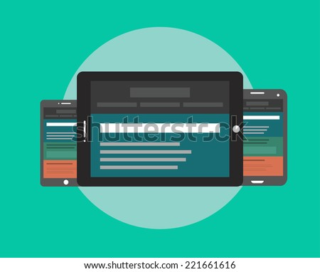 Vector illustration of user interface on digital tablet and on mobile devices with flat simplistic inforgraphic charts and web design on a screen