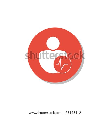 Vector illustration of user pulse sign icon on red circle background. - stock vector