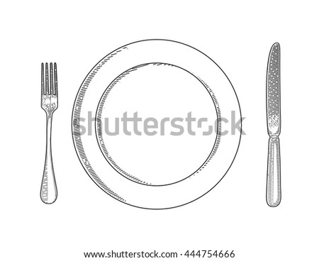 Vector illustration of utensils. Cutlery painted in the technique of engraving. Fork, knife and a plate. Tableware. - stock vector